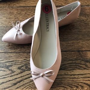 DUSTY PINK LEATHER BALLET FLATS W/BOW